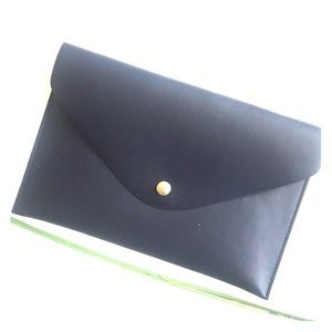 71e9f304f0ee J Crew Navy   Gold clutch